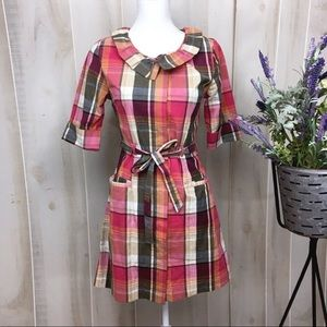 Little Yellow Button Pink Plaid Shirt Dress